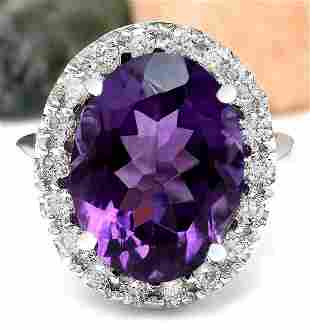 9.30 CTW Natural Amethyst 14K Solid White Gold Diamond