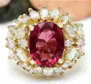 5.43 CTW Natural Rubelite 14K Solid Yellow Gold Diamond