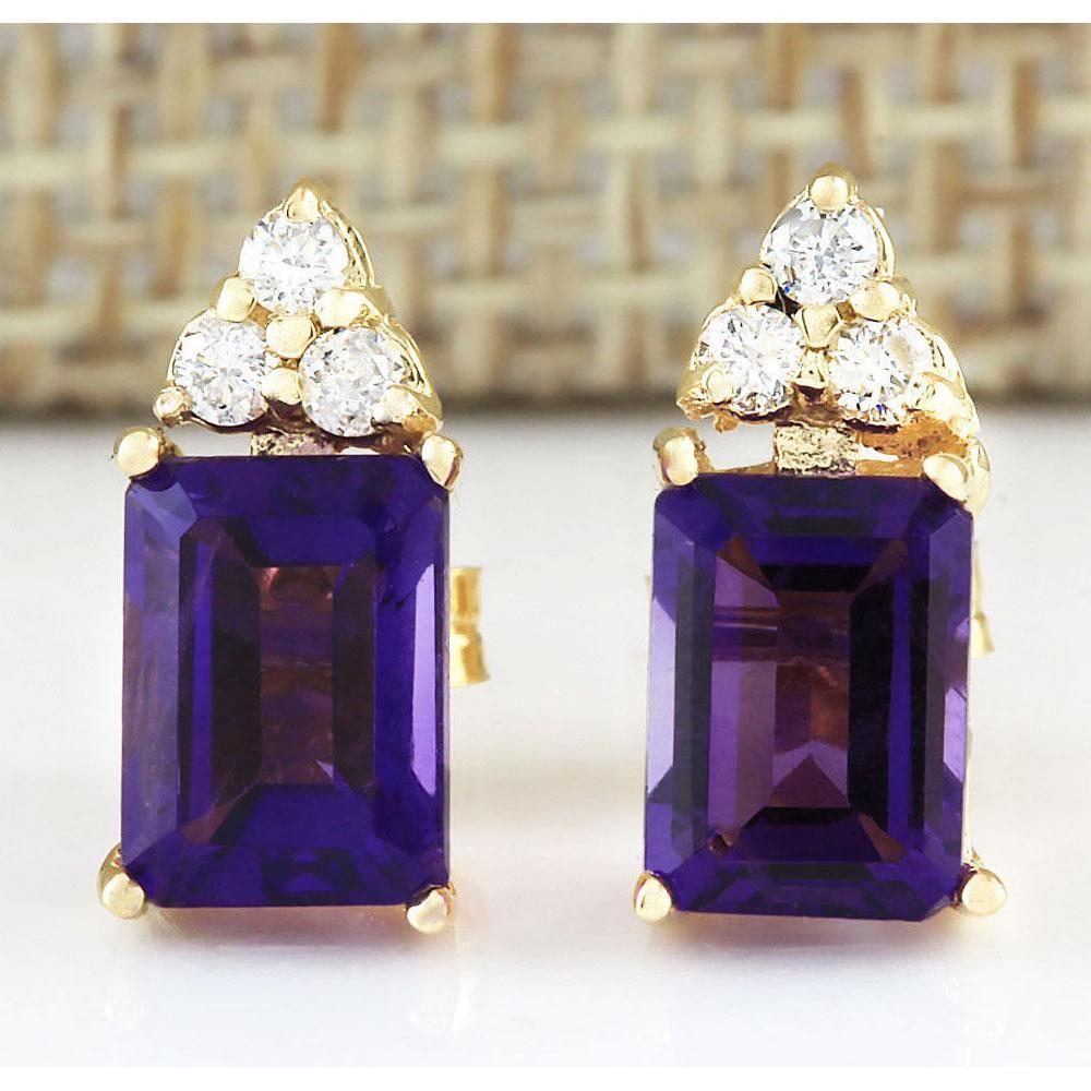 2.66 CTW Natural Amethyst And Diamond Earrings 18K