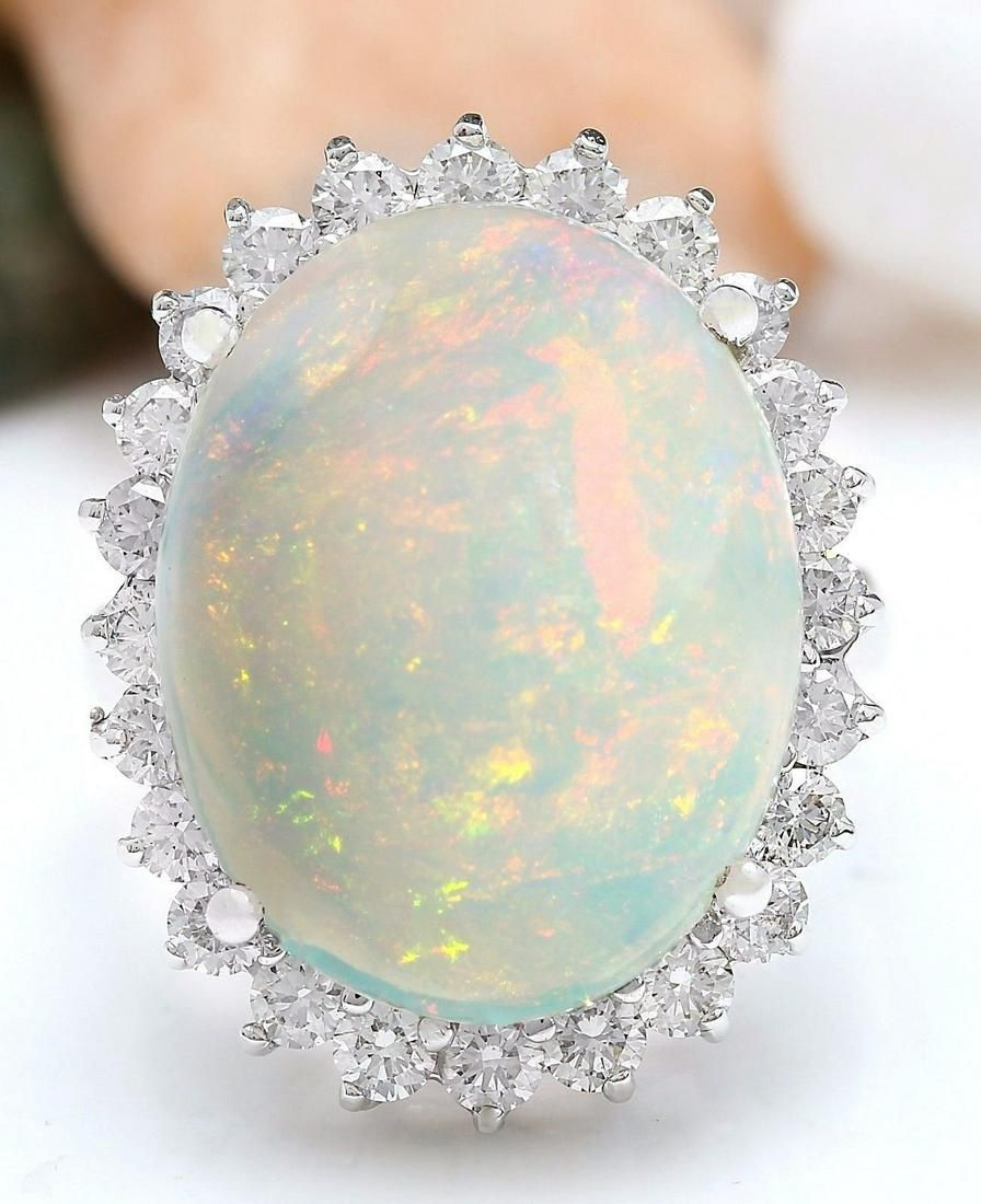 11.31 CTW Natural Opal 18K Solid White Gold Diamond