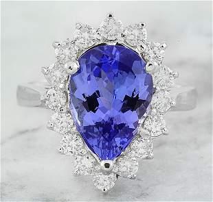 4.40 CTW Tanzanite 14K White Gold Diamond Ring