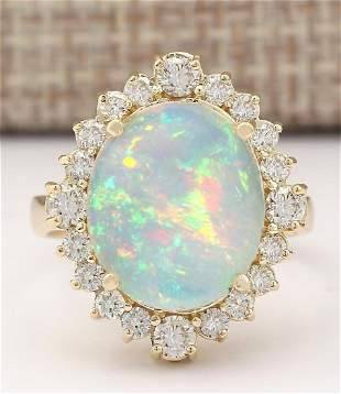 6.53 CTW Natural Opal And Diamond Ring In 18K Yellow