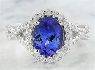 3.23 CTW Tanzanite 14K White Gold Diamond Ring