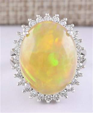 13.48 CTW Natural Opal And Diamond Ring In 18K White