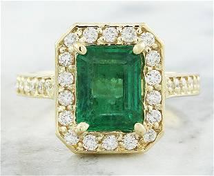 3.40 CTW Emerald 18K Yellow Gold Diamond Ring