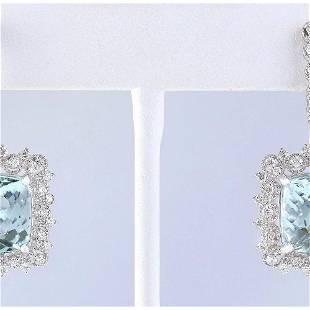 17.29 CTW Natural Aquamarine And Diamond Earrings 14k