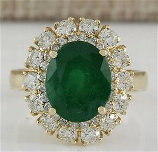 6.29 CTW Natural Emerald And Diamond Ring 14K Solid