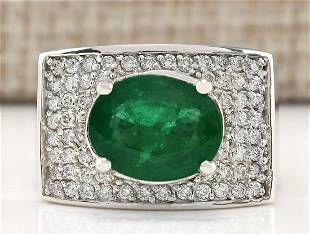 4.78 CTW Natural Emerald And Diamond Ring In 18K White