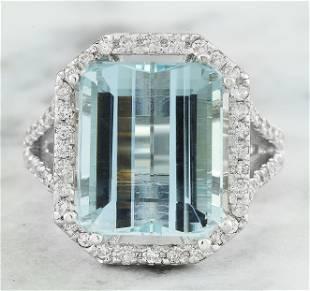 10.30 CTW Aquamarine 18K White Gold Diamond Ring