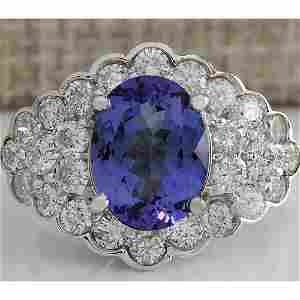 5.12 CTW Natural Blue Tanzanite And Diamond Ring In 14K