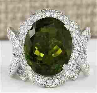 12.80 CTW Natural Green Tourmaline And Diamond Ring 18K