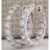 3.40 CTW Natural Diamond Hoop Earrings 18K Solid White