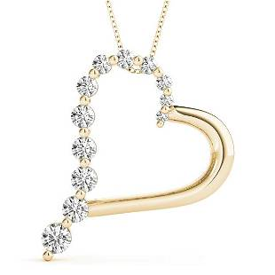 0.48 Carat Diamond Engagement 14K Yellow Gold Heart