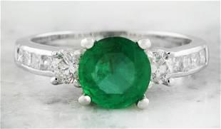 1.98 CTW Emerald 18K White Gold Diamond Ring