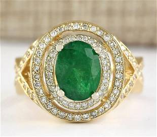3.63 CTW Natural Emerald And Diamond Ring In 14k Yellow
