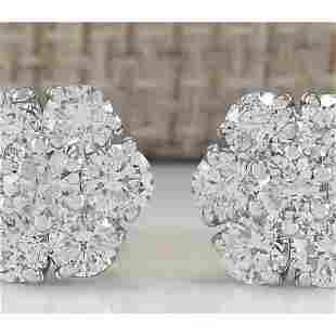 2.80 CTW Natural Diamond Earrings 18K Solid White Gold