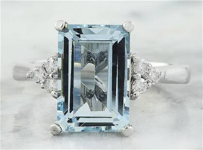 4.20 CTW Aquamarine 18K White Gold Diamond Ring
