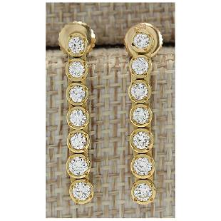 1.26 CTW Natural Diamond Earrings 18K Solid Yellow Gold