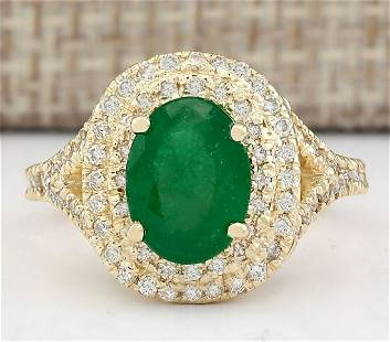 3.05 CTW Natural Emerald And Diamond Ring In 18K Yellow