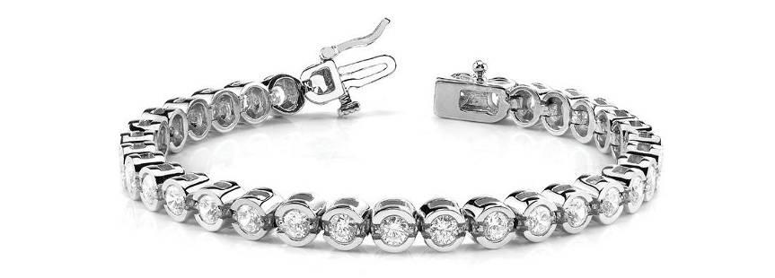 3.96 Carat Diamond Engagement 14K White Gold Bracelet