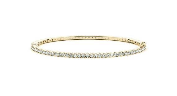 2.34 Carat Diamond Engagement 14K Yellow Gold Bangle