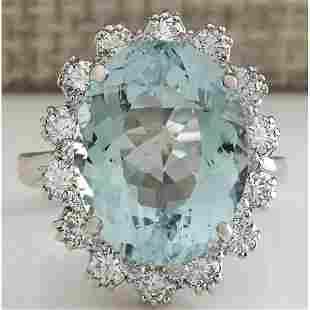 10.25 CTW Natural Aquamarine And Diamond Ring In 18K