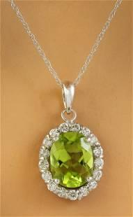2.00 CTW Peridot 18K White Gold Diamond Necklace
