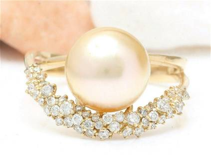 3.48 mm Gold South Sea Pearl 14K Solid Yellow Gold