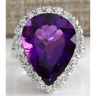 10.56 CTW Natural Amethyst And Diamond Ring In 18K