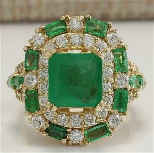 6.90 CTW Natural Emerald And Diamond Ring 18K Solid