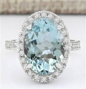 6.90 CTW Natural Aquamarine And Diamond Ring In 18K