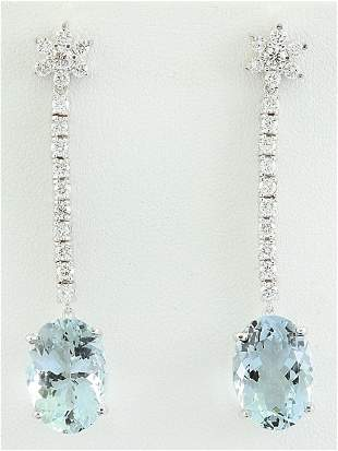 12.09 CTW Aquamarine 18K White Gold Diamond Earrings