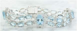 20.15 CTW Aquamarine 18K White Gold Diamond Bracelet