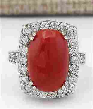 9.86 CTW Natural Coral And Diamond Ring In 18K White