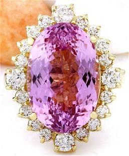 14.90 CTW Natural Kunzite 14K Solid Yellow Gold Diamond