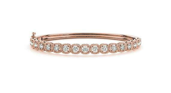 1.33 Carat Diamond Engagement 14K Rose Gold Bangle