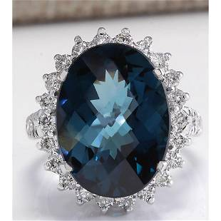 15.99CTW Natural London Blue Topaz And Diamond Ring