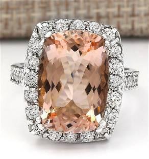 9.60 CTW Natural Morganite And Diamond Ring In 14k