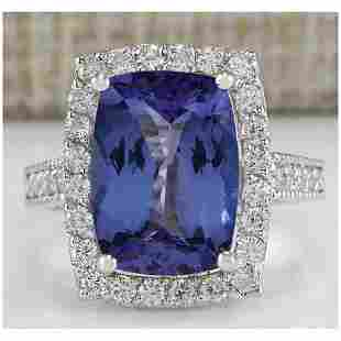 6.74 CTW Natural Blue Tanzanite And Diamond Ring In 18K