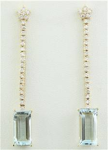 9.35 CTW Aquamarine 14K Yellow Gold Diamond Earrings