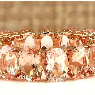 11.10 CTW Natural Morganite Ring In 18K Rose Gold