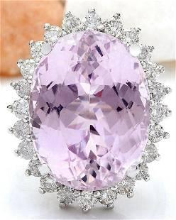 24.08 CTW Natural Kunzite 14K Solid White Gold Diamond