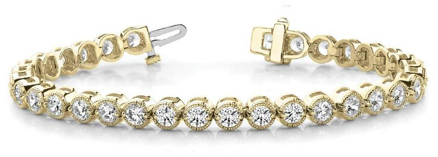 10.5 Carat Diamond Engagement 14K Yellow Gold Bracelet