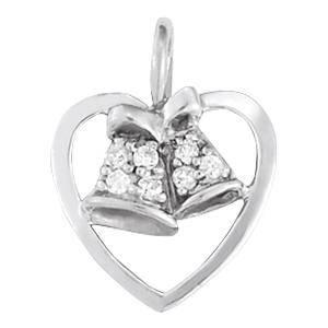 0.05 Carat Diamond Engagement 14K White Gold Heart