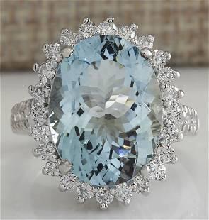 9.04 CTW Natural Aquamarine And Diamond Ring In 18K