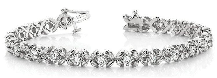 2.08 Carat Diamond Engagement 14K White Gold Bracelet