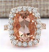 8.31 CTW Natural Morganite And Diamond Ring In 14k Rose