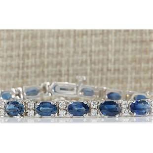 12.80 CTW Natural Blue Sapphire Diamond Bracelet 18K