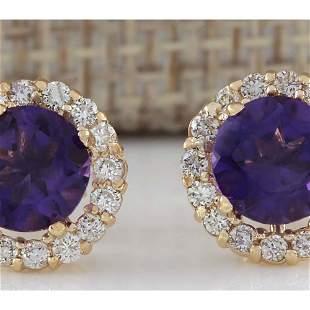 3.65 CTW Natural Amethyst And Diamond Earrings 18K