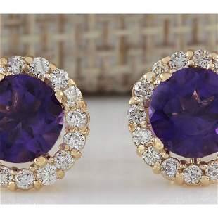3.65 CTW Natural Amethyst And Diamond Earrings 14K